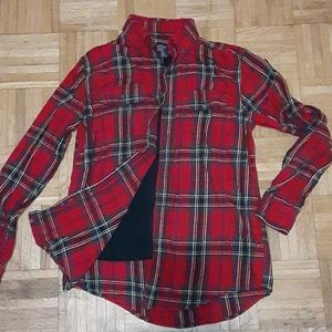 Red and Blue Plaid Flannel Shirt!